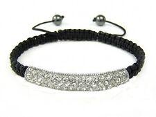 Shamballa crystal curve white clear bracelet hematite beads friendship macrame