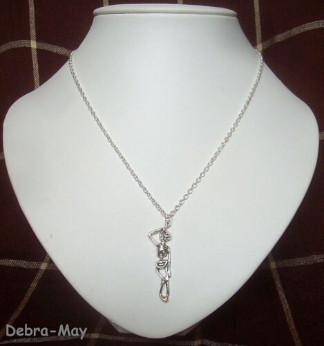 """Gothic Hanging Skeleton Pendant 18/"""" Chain Necklace Punk Pirate Death Emo"""