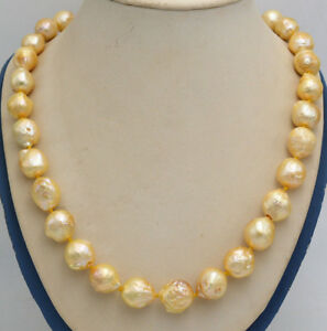 natural on sale 12x14MM yellow SOUTH SEA GOLD BAROQUE PEARL NECKLACE ... 2545852cf3