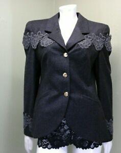 Louis-Feraud-Woman-s-Gray-Charcoal-Jacket-Size-8