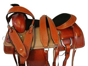 16 17 ROPING RANCH DEEP SEAT WESTERN SADDLE TOOLED LEATHER BROWN PLEASURE TACK
