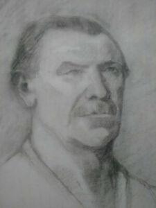 Grand dessin fusain portrait homme étude personnage fin XIXème début XXème