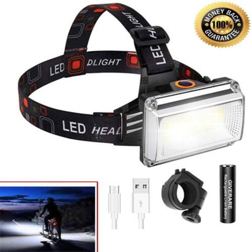 LED Lampara Luz De Cabeza Linterna Para Pescar Recargable Camping Head Light New