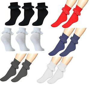 1//3//6 X Pairs Girls Cotton Frilly Lace Top Ankle Socks in Red Purple Black Grey