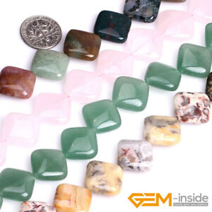 Natural-16mm-Assorted-Stones-Square-Beads-For-Jewelry-Making-Strand-15-034-YB