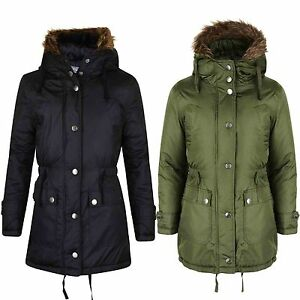 2e9da90744e8 GIRLS PARKA JACKET KIDS PADDED FAUX FUR TRIM HOODED COAT AGE 7 8 9 ...