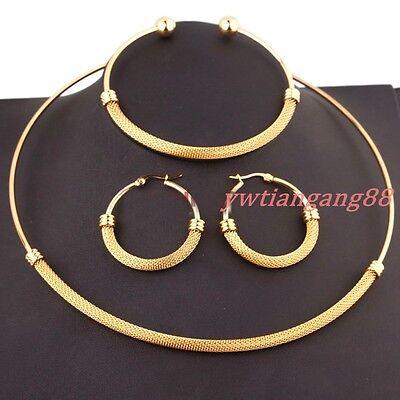 Fashion Silver & Gold 316L Stainless Steel Choker Necklace Bracelet Earrings Set