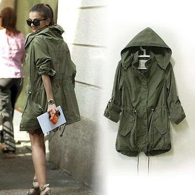 2015 Womens Lady Hoodie Drawstring Military Trench Jacket Coat Parka Army Green