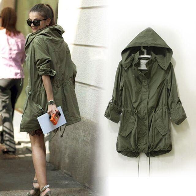 Women's Zip Hoodie Drawstring Military Trench Jacket Coat Parka Outwear S M L J