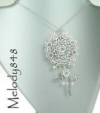 PILGRIM Disc Necklace BOHEMIAN Flower Charm Swarovski Enamel Silver/Blue BNWT