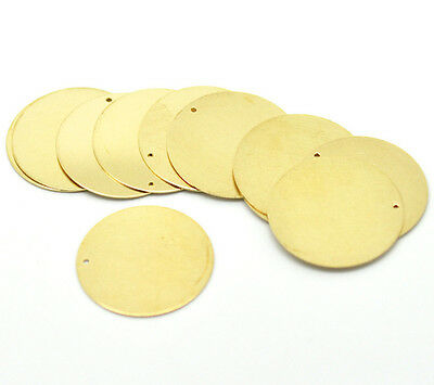 """30PCs Hot Brass Tone Blank Stamping Tags Round Pendants Charms 28mm(1-1/8"""")"""