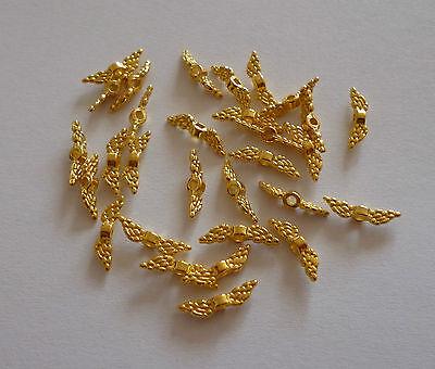 Calificado 10 Unidades Tibetana Perlas Style Ala De ángel Oro De Colores Aprox. 12x3x3mm