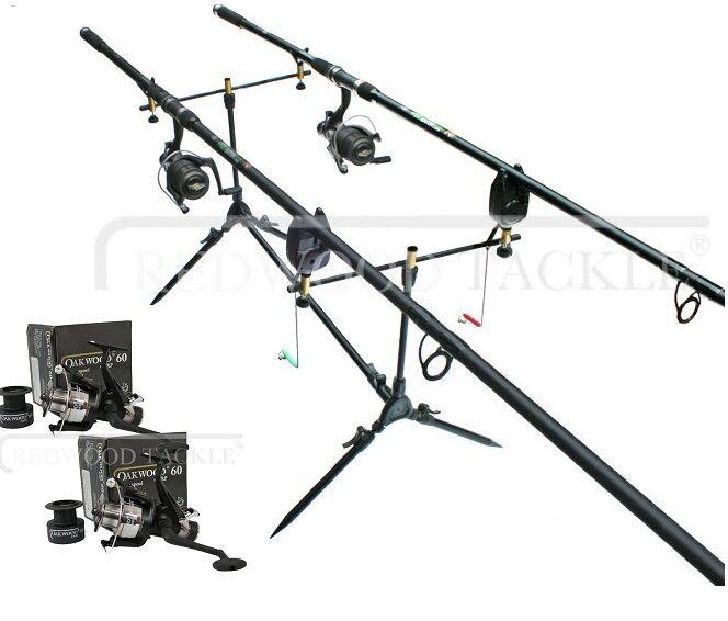 OAKWOOD Carp Fishing Set 2 x 2.5tc Rods 2 x Single Handle Reels, Pod 2 x Alarms