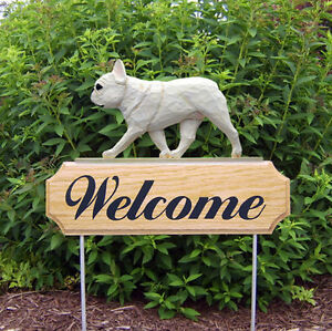 French Bulldog Dog Breed Oak Wood Welcome Outdoor Yard Sign Cream