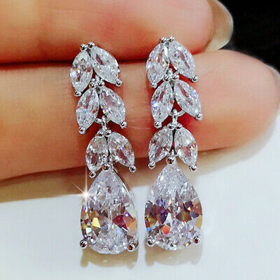 Gorgeous 925 Silver Drop Earrings For Women Jewelry White Sapphire A Pair Set Ebay