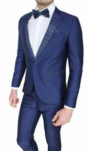 Dettagli su Elegante abito da uomo sartoriale in raso blu estivo completo vestito slim fit