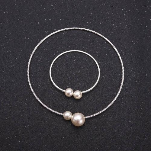 Imitation Pearl Crystal Rhinestone Choker Necklace Bracelet Trinket Set C