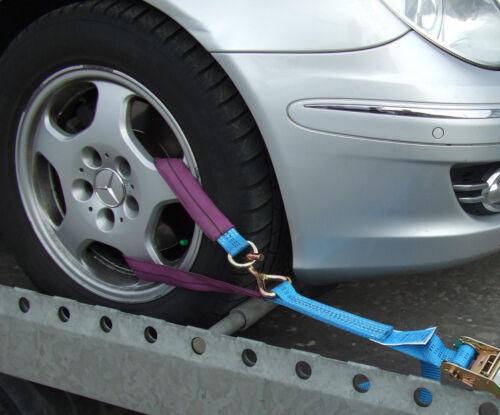 4x Auto Spanngurt/Zurrgurt Radsicherung Autotransport Anhänger,Felgensicherung