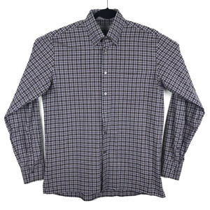 CANALI-Current-1934-Mens-Brown-Purple-Plaid-Long-Sleeve-Button-Shirt-Size-Large