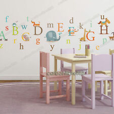 Animal Alphabet Letter 26 A-Z Wall Stickers Baby Nursery Boys Girls Room Decals