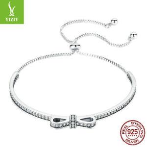 Sweet-Bowknot-New925-Sterling-Silver-Bracelet-White-Zirconia-Chain-Jewelry-Women