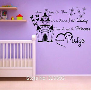 Home & Garden Baby Custom Personalised Princess Name Wall Stickers Vinyl Decals Nursery Kids Decor