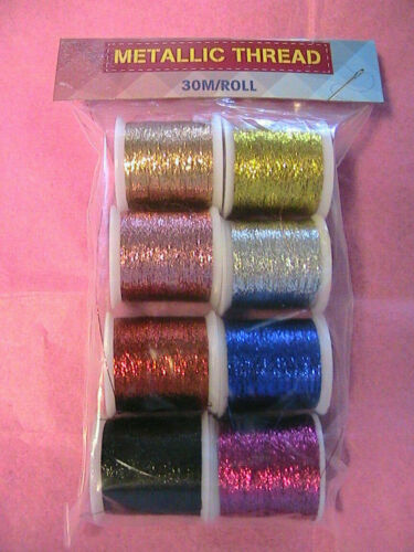 8 SPOOLS #B COLOR METALLIC THREADS for embroidery~sewing~highlight~32 yards per