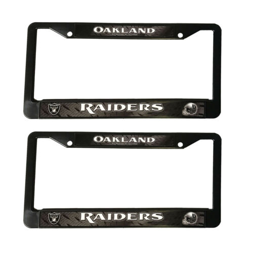 "2pc NEW Football Oakland Raiders Black Plastic License Plate Frame 12.5/"" x 6.5/"""