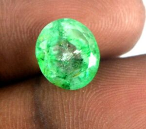 6.10 Ct Zambian Green Emerald Gemstone 100% Natural Oval Cut AGI Certified H4512