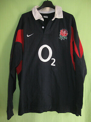 Maillot Rugby Angleterre Nike jersey England O2 Vintage coton Noir XL | eBay