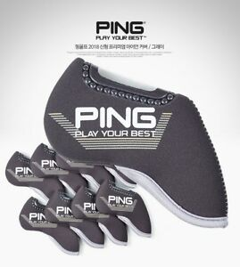 Ping-2019-New-Premium-Original-Golf-Fer-Club-Tete-Couverture-9pcs-Gray-Neoprene