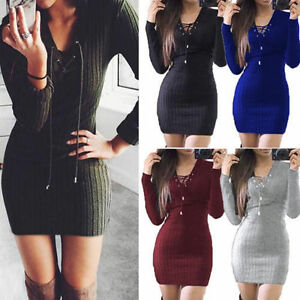 Image Is Loading Womens Las Lace Up Knitted Bodycon Jumper Dress
