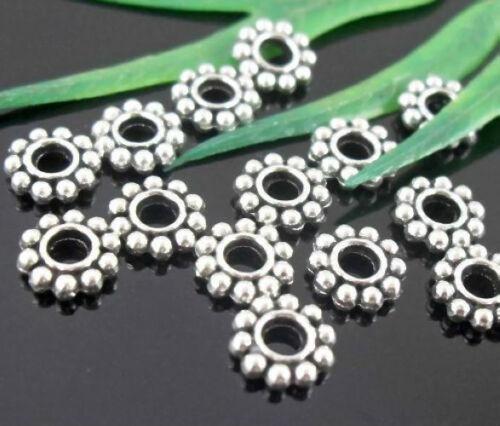 Lead-free 3600pcs Tibetan Silver Spacer Beads 7x2mm