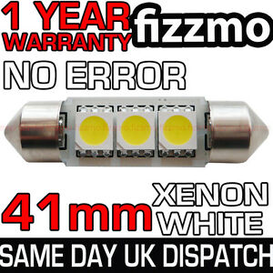 3-SMD-LED-41mm-264-CANBUS-NO-ERROR-XENON-WHITE-NUMBER-PLATE-LIGHT-FESTOON-BULB