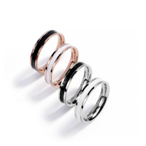 316L Edelstahl Ring Emaille Streifen Rosegold Silber Weiß Schwarz 4mm Damen