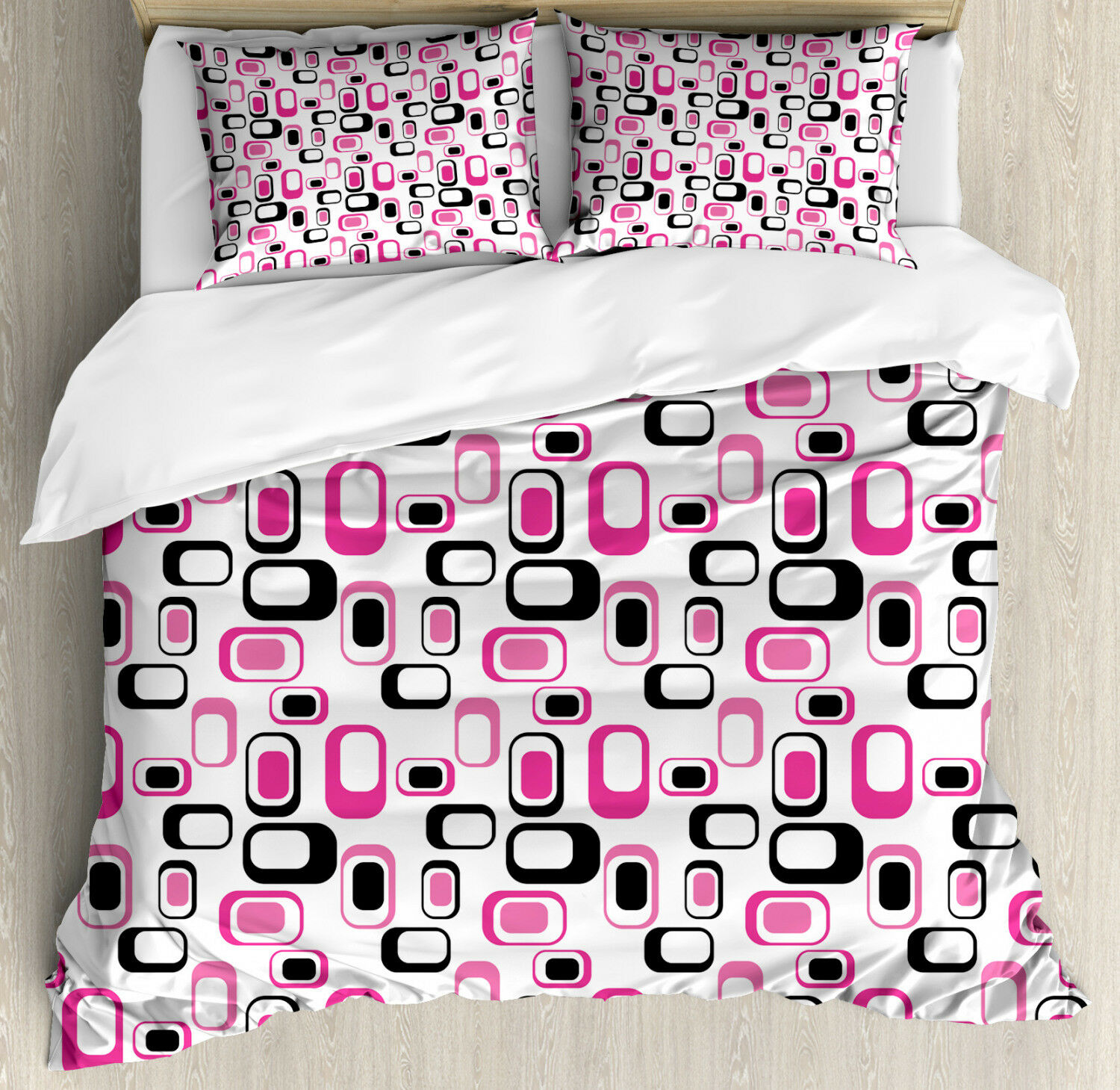 Geometric Duvet Cover Set with Pillow Shams Old Fashioned Style Print