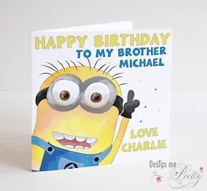 Image Is Loading PERSONALISED MINIONS Birthday Card Son Dad Brother Grandson