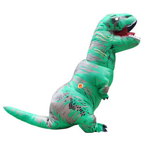 Adult Inflatable Dinosaur Costume Fun T-Rex Jurassic Halloween Outfit Green