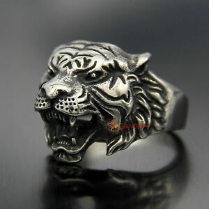 Men-039-s-Vintage-316L-Stainless-Steel-Tiger-Head-Biker-Ring-Masculine-Animal-Band