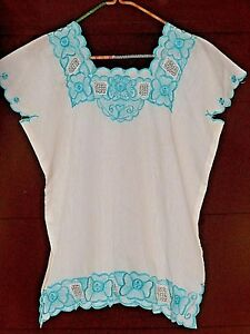 Floral-Embroidered-Blouse-Ethnic-Greek-Square-Neckline-Boho-Chic-no-tag-NEW