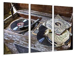 Cuadro Moderno Tocadiscos Vintage, Discos de Vinilo, Musica, ref. 26460