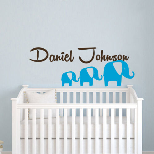 Personalized Boy Name Wall Decal Elephants Vinyl Decal Sticker Nursery ZX82