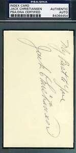 Jack Christiansen Psa Dna Coa Autograph 3x5 Index Card Hand Signed Authentic