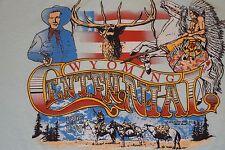 vtg 1989 Wyoming Paper Thin t shirt Cowboy Native American 50/50 Small Usa Made
