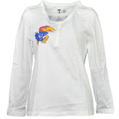 Neue Mode Ncaa Kansas Jayhawks Weißes Damen Langarm Henley Knopf T-shirt Schnabel 'em 100% Garantie Fanartikel