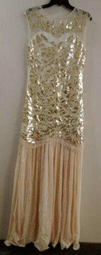 Beige/Peach Sequin Long Dress w/ Illusion Sweethea