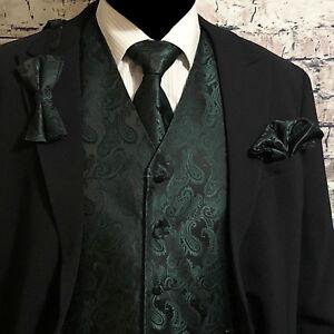 New Men/'s vest paisley Tuxedo Waistcoat self tie bow tie and hankie Gold formal