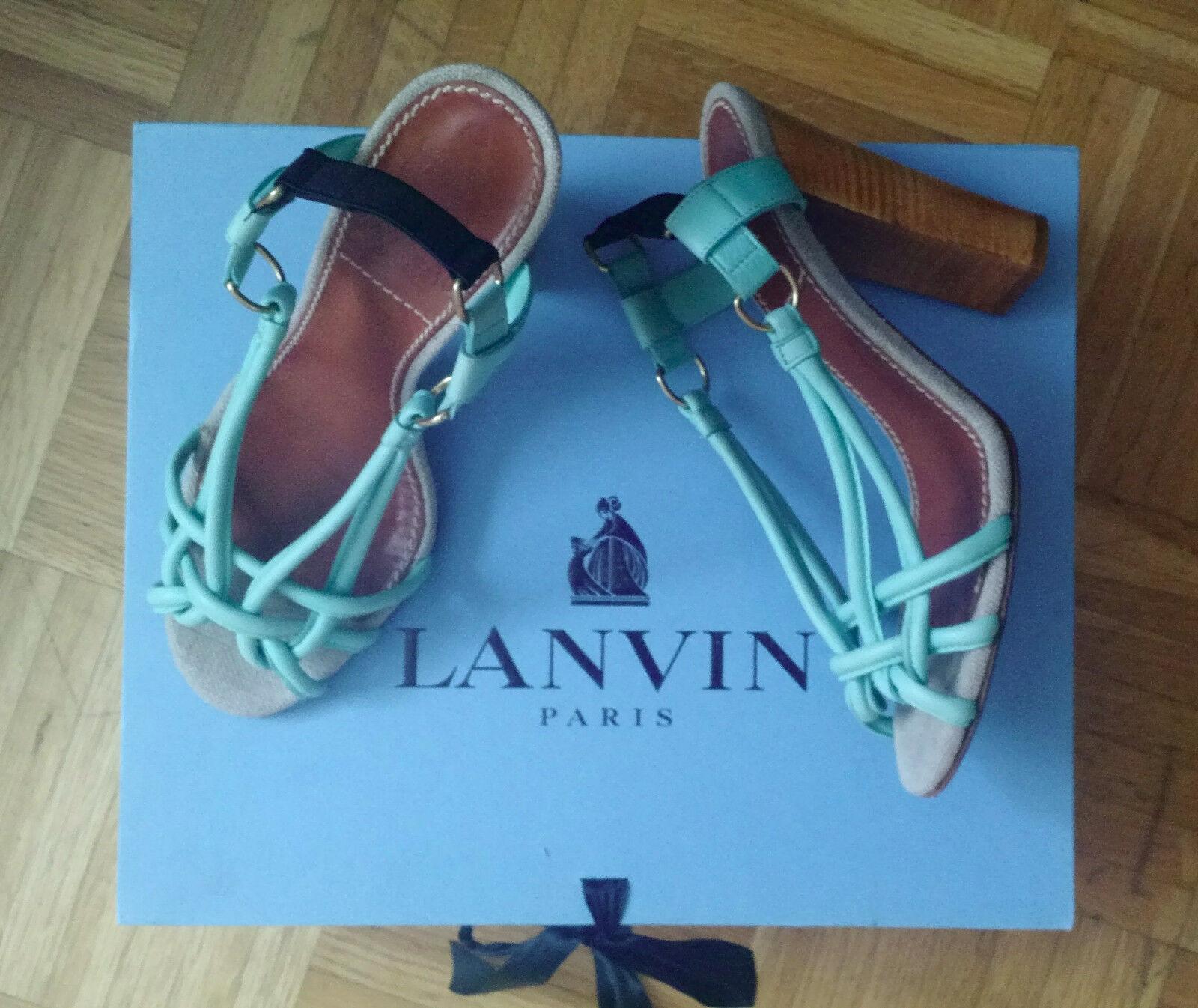 Original Lanvin Sandale Gr. 38 Sandalette luxus designer high heels grün türkis