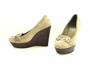 GUCCI Gray-beige suede leather Wedge