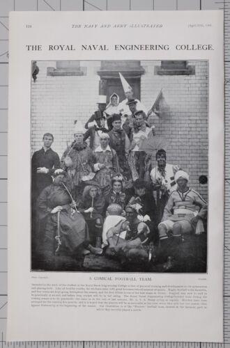 1901 Imprimé Royal Naval Ingénierie Collège ~ Comique Équipe de Football